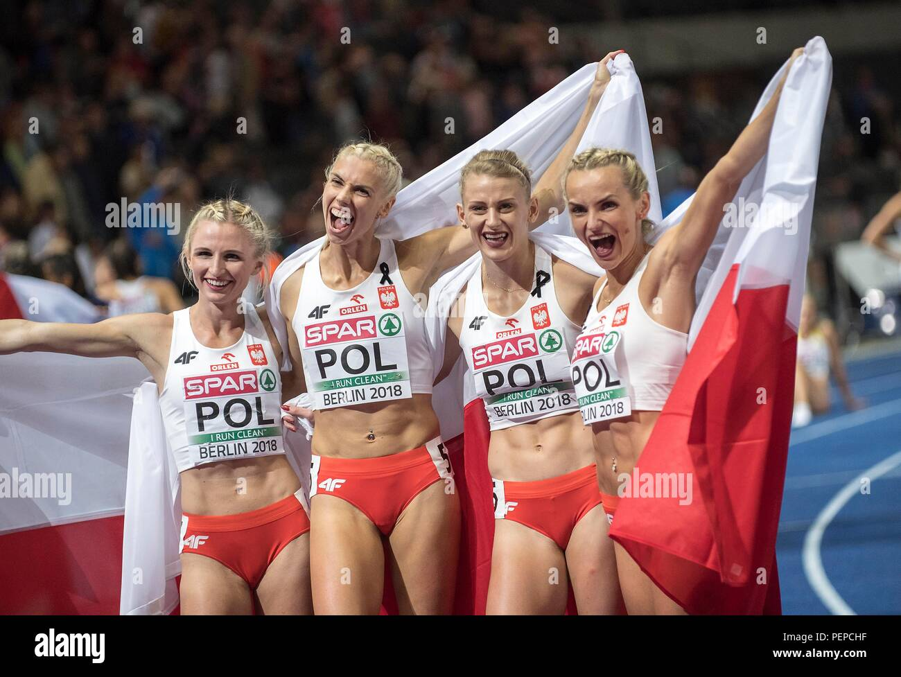 Berlin, Deutschland. 11th Aug, 2018. jubilation Team POL, 1st place, winner, with Malgorzata HOLUB-KOWALIK, Iga BAUMGART-WITAN, Patrycja WYCISZKIEWICZ, Justyna SWIETY-ERSETIC, Poland, final 4x400m women's relay, on 11.08.2018 European Athletics Championships 2018 in Berlin/Germany from 06.08, - 12.08.2018. | usage worldwide Credit: dpa/Alamy Live News - Stock Image