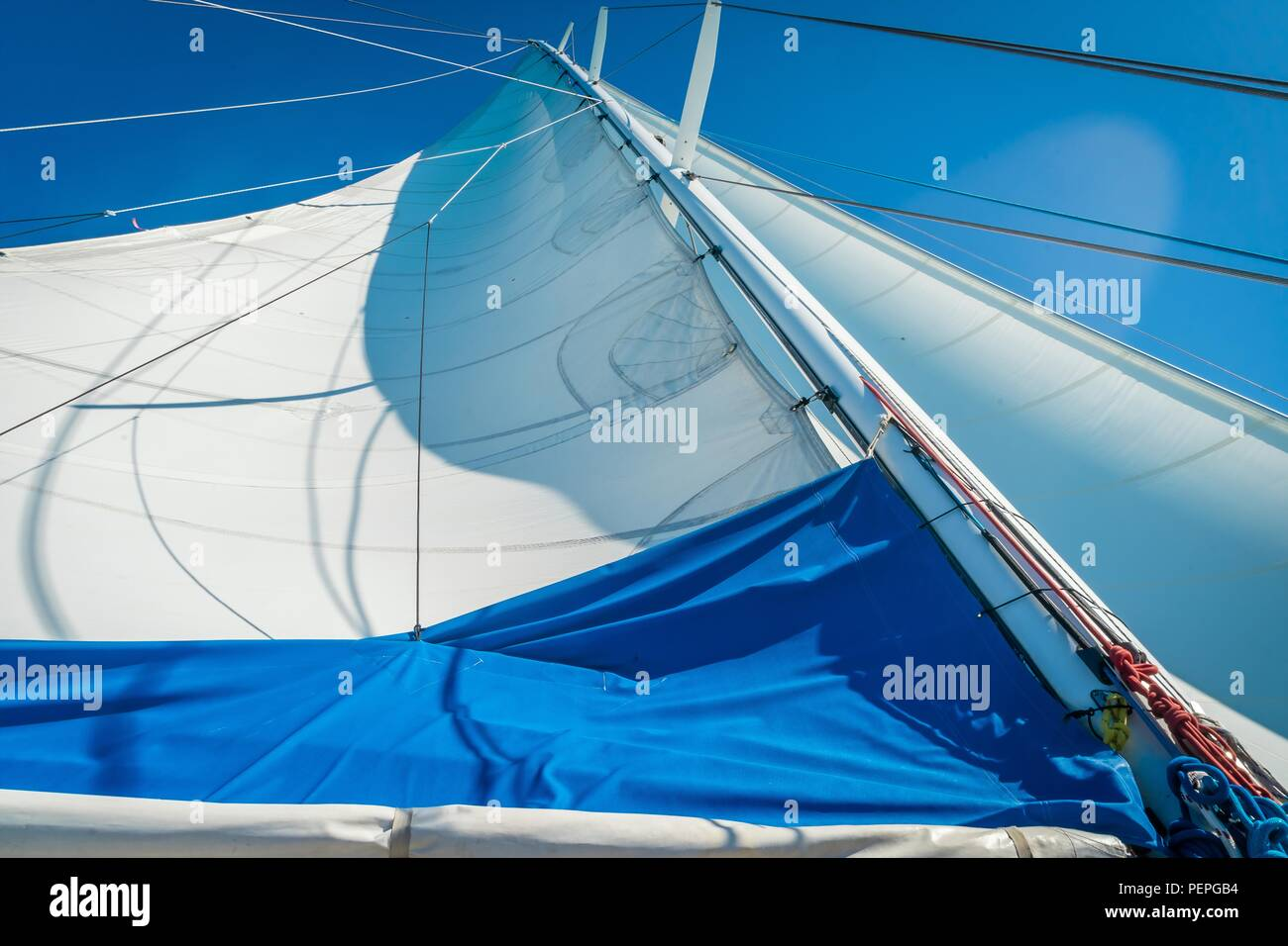 Sail of a monocoque boat seen from the bottom - Stock Image