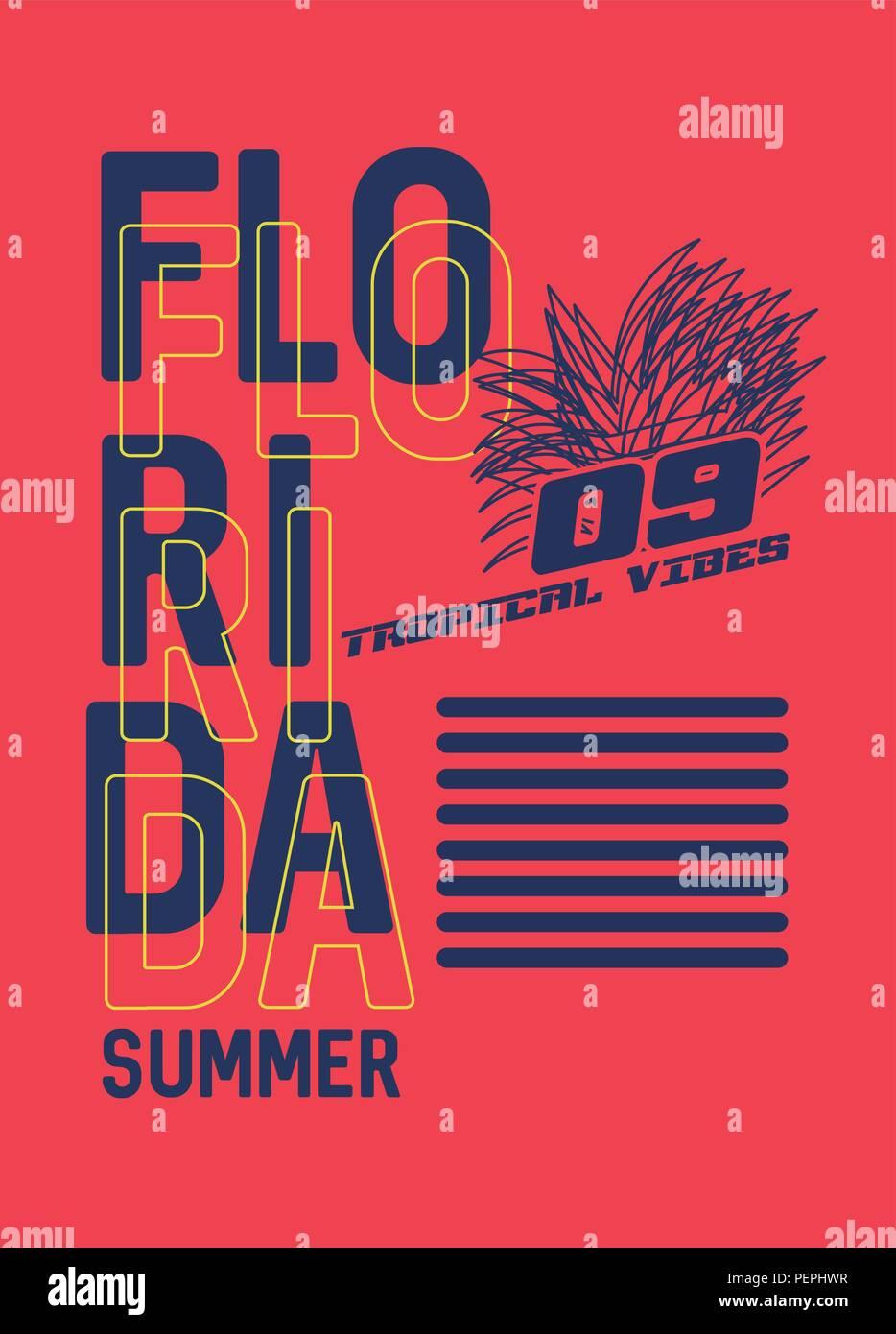 Florida Summer T Shirt Design Vector Illustraton Stock Vector Art