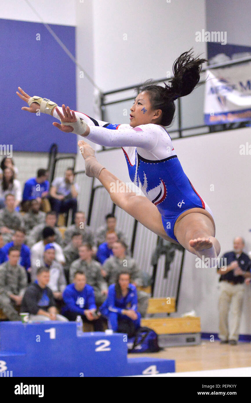 6e73144c Joey Ching, a senior, performs on floor exercise as the U.S. Air Force  Academy