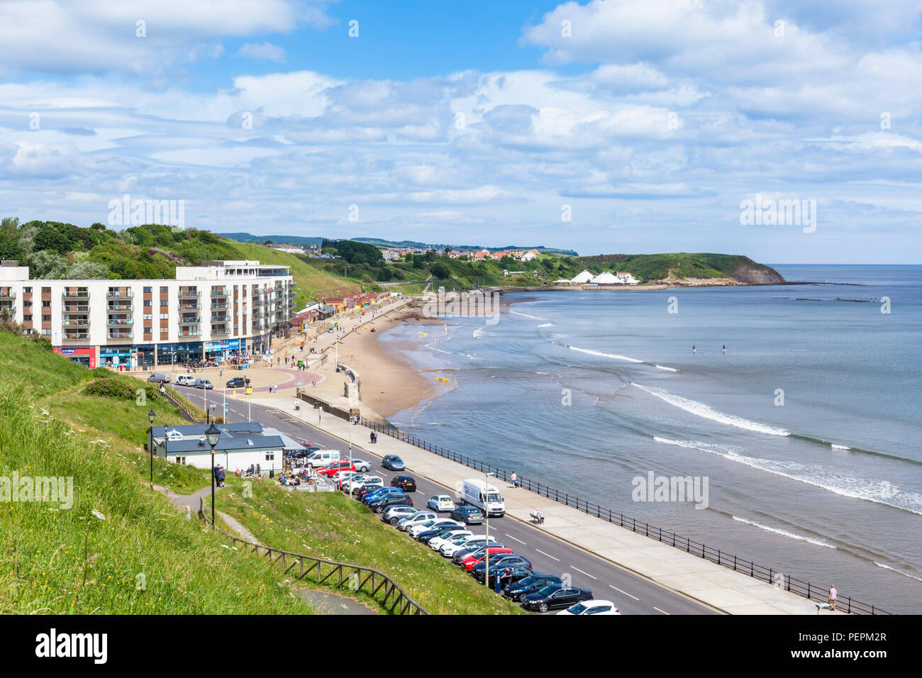 scarborough north bay the sands holiday complex peasholm gap scarborough uk yorkshire north yorkshire england scarborough uk gb europe - Stock Image