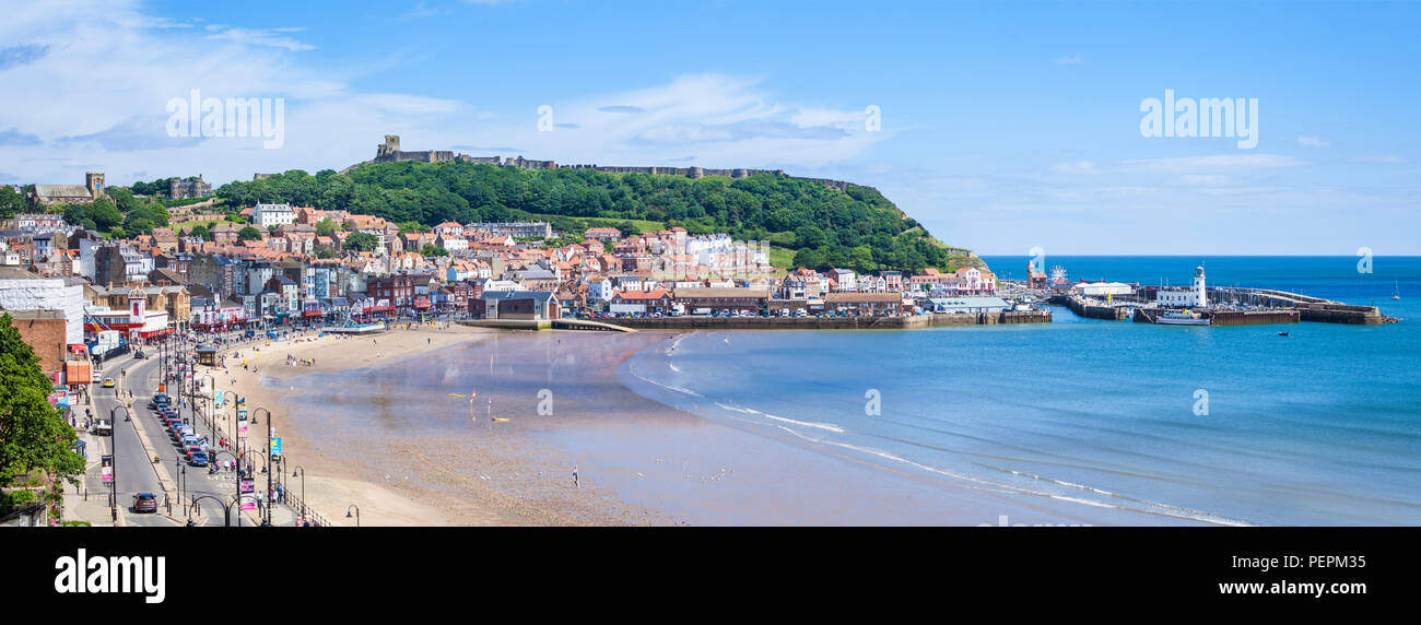 scarborough south bay beach and harbour seafront at scarborough england  yorkshire north yorkshire scarborough uk gb europe - Stock Image