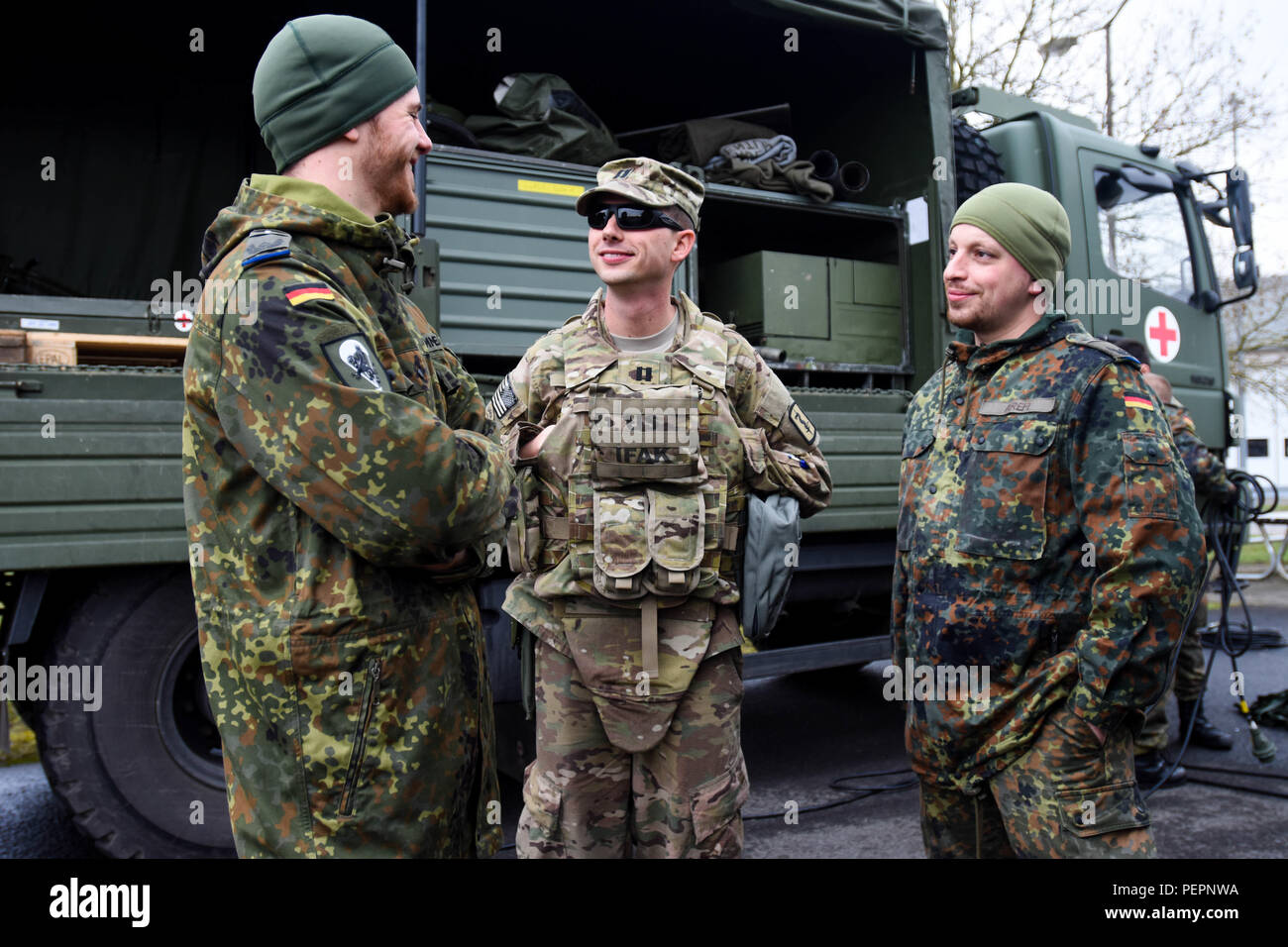 Capt Jonathan Haines 557th Area Medical Support Company Commander 421st Multifunctional Medical Battalion Meets With Bundeswehr Medical Personnel During 30th Medical Brigade S Medshock On Mccully Barracks Germany On Jan 26 2016 Prior