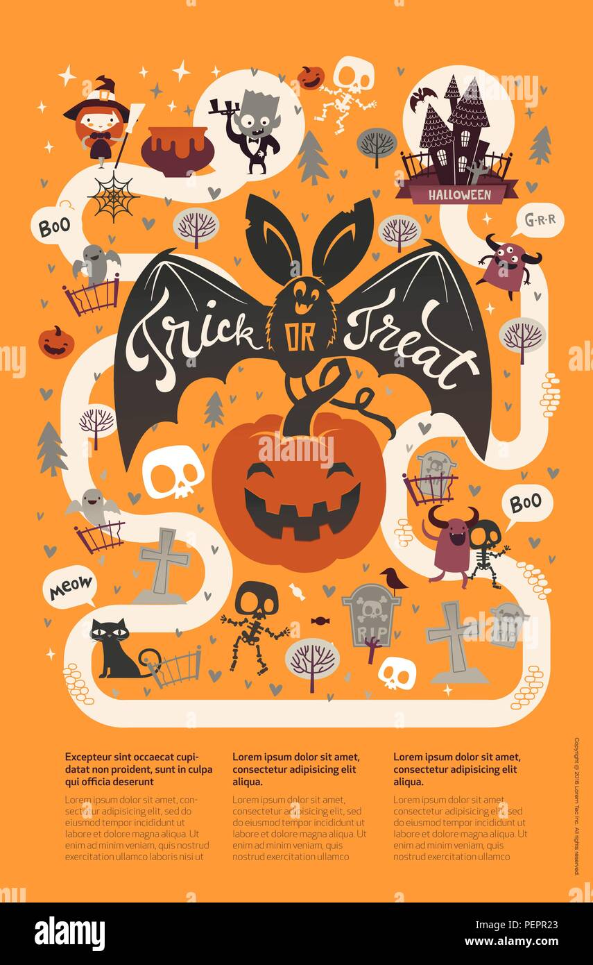Happy halloween flyer template in a flat style with funny and spooky vector illustration for festive party invitation greeting card announcement banner m4hsunfo