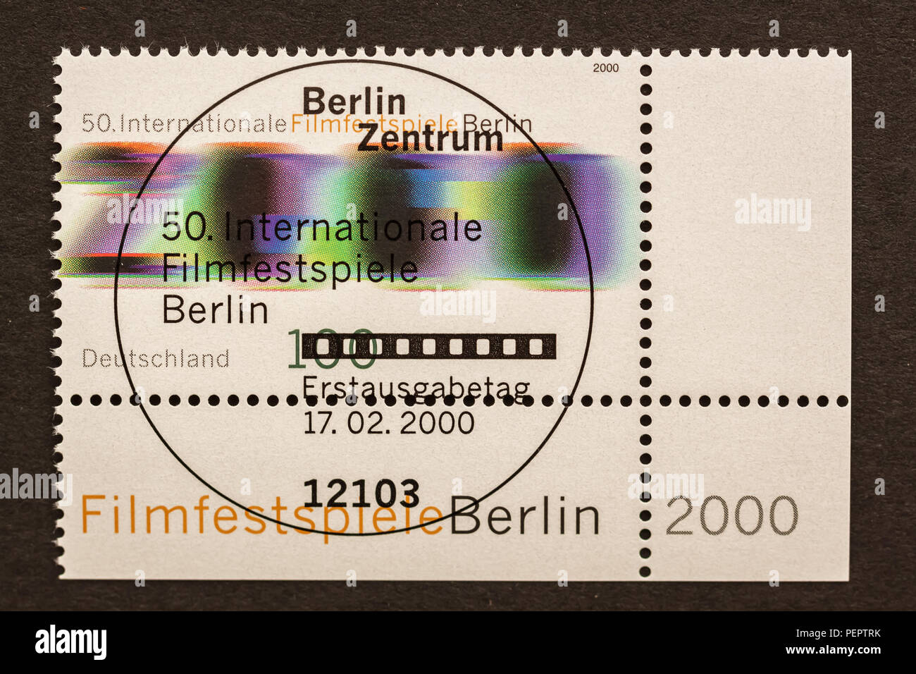 Postage stamp with first day of issue postmark to commemorate Film Festival 2000 in Berlin, Germany. - Stock Image