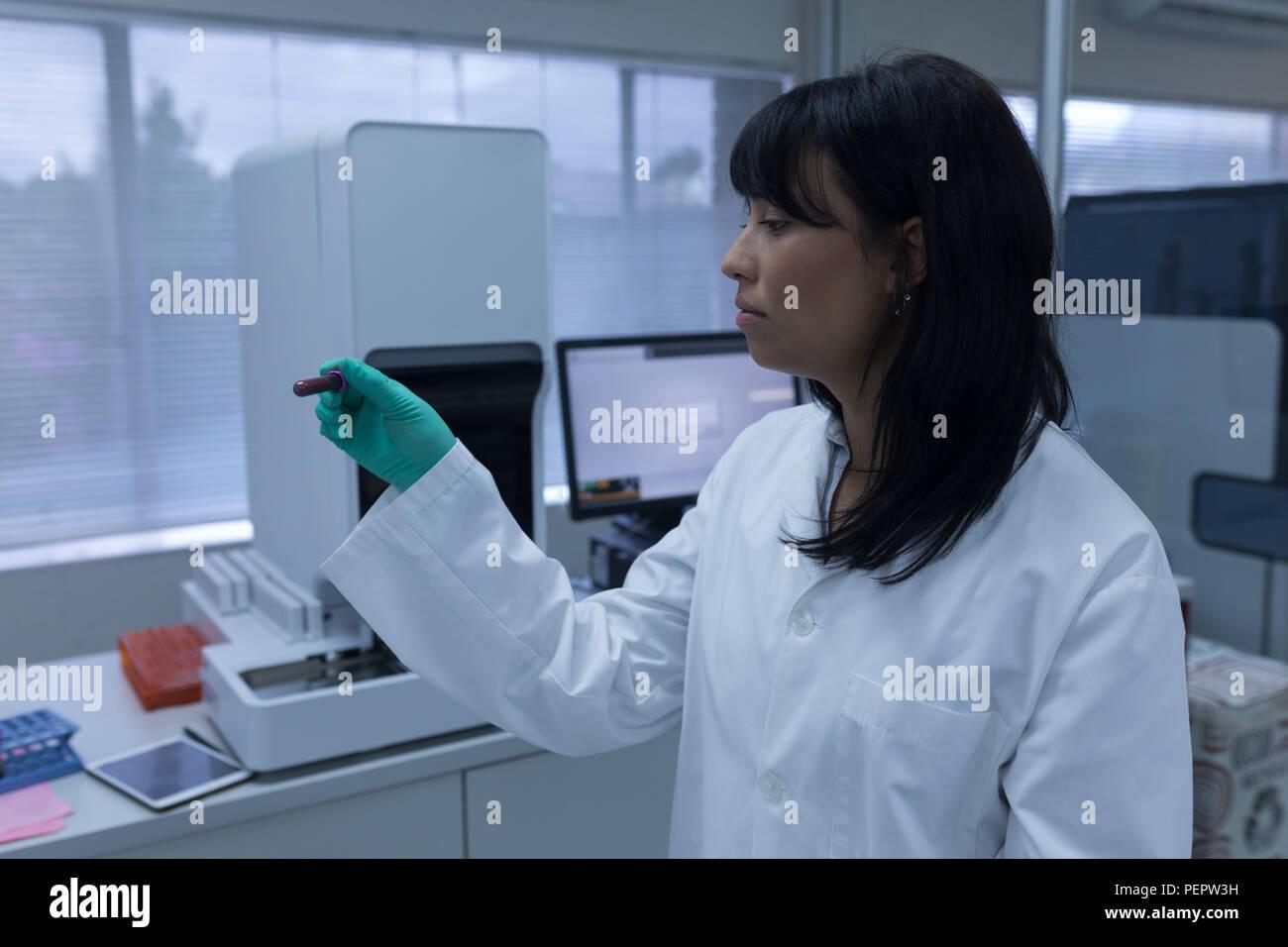 Laboratory technician analyzing chemical solution - Stock Image