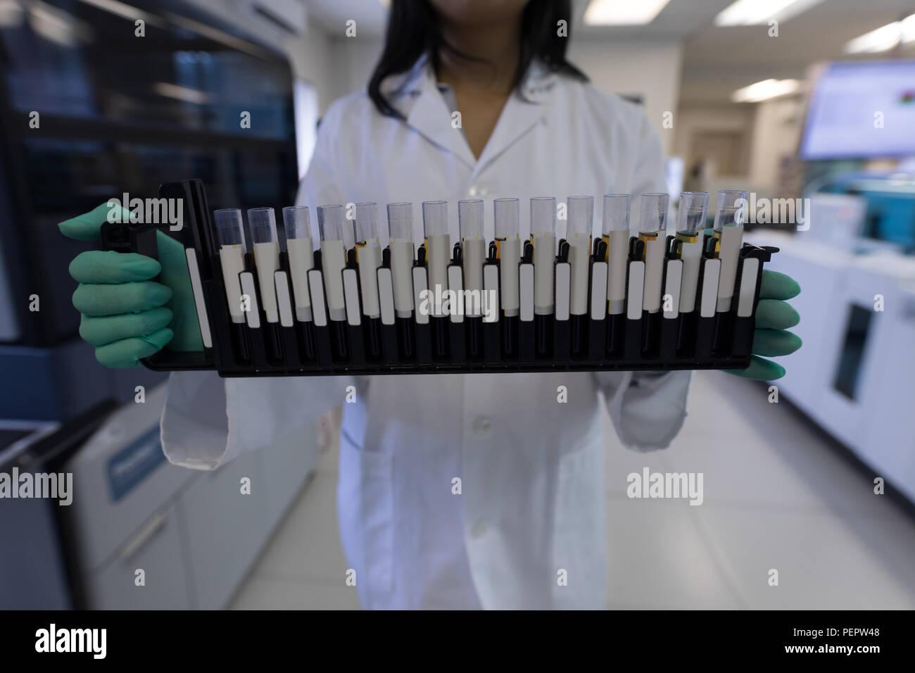 Laboratory technician holding test tubes Stock Photo