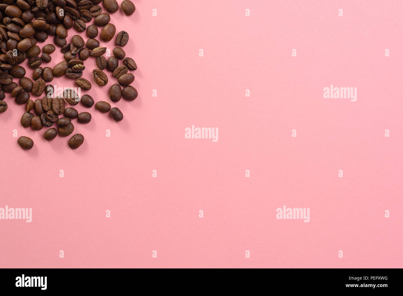 Lots of coffee beans on pastel background website textspace - Stock Image