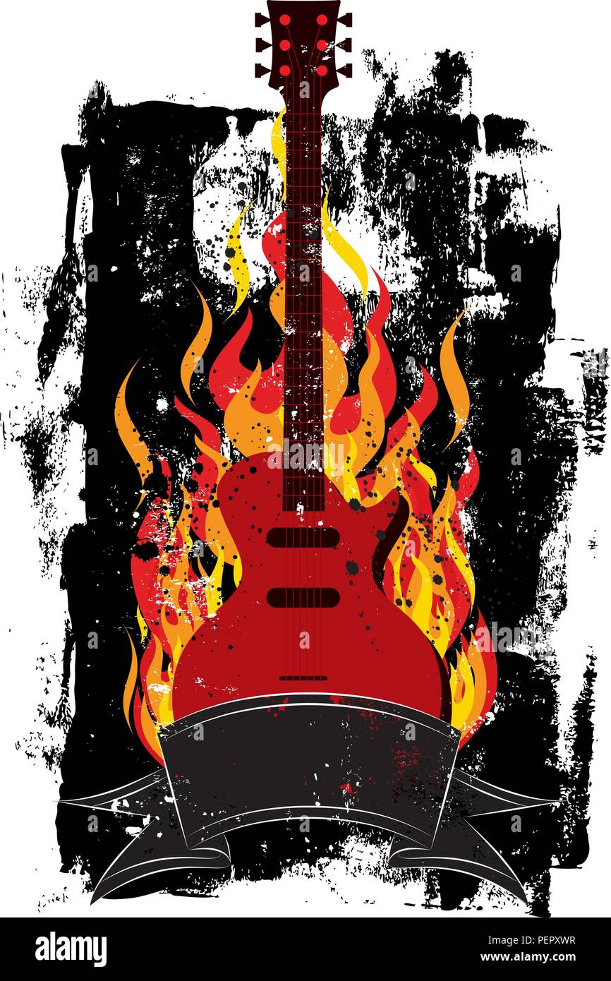 Flaming Guitar. A guitar in flames over a textured background. Stock Vector