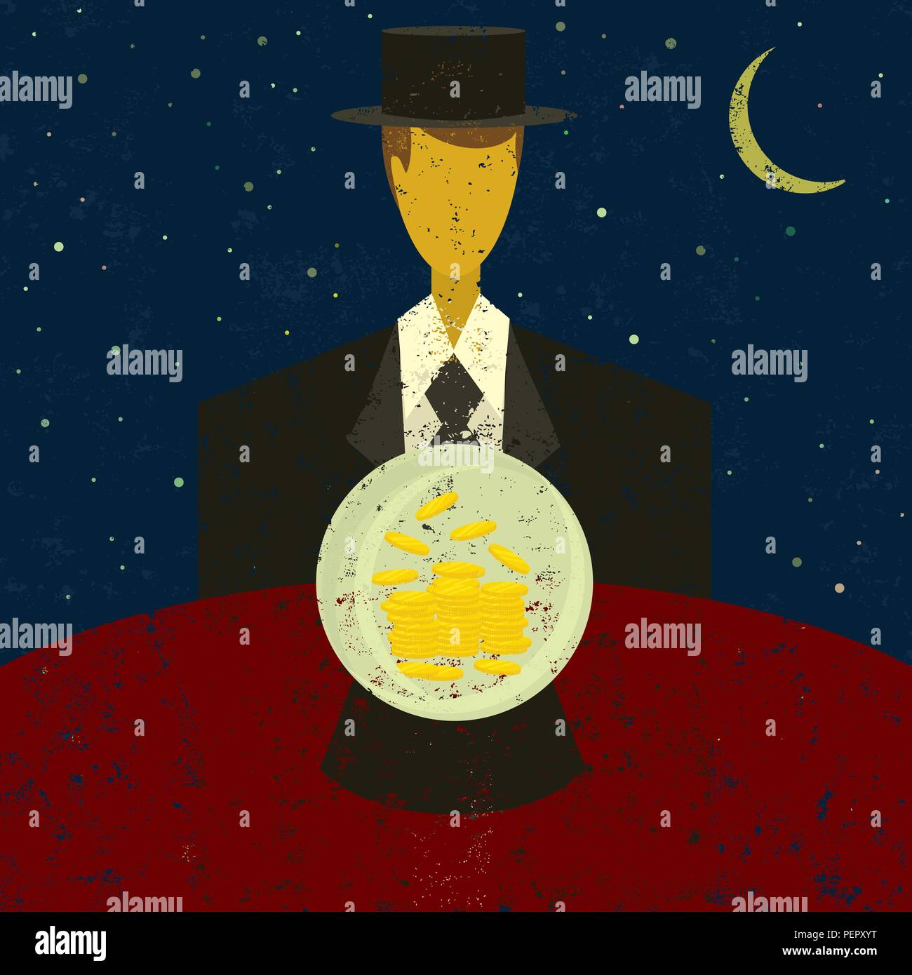 Financial Fortune Teller. A businessman looking into a crystal ball and seeing wealth in his future. - Stock Vector