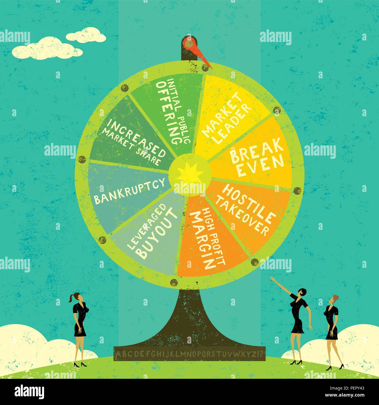Fortune Wheel. Businesswomen, uncertain of their company's future, roll the Fortune Wheel to guess what will happen. - Stock Vector