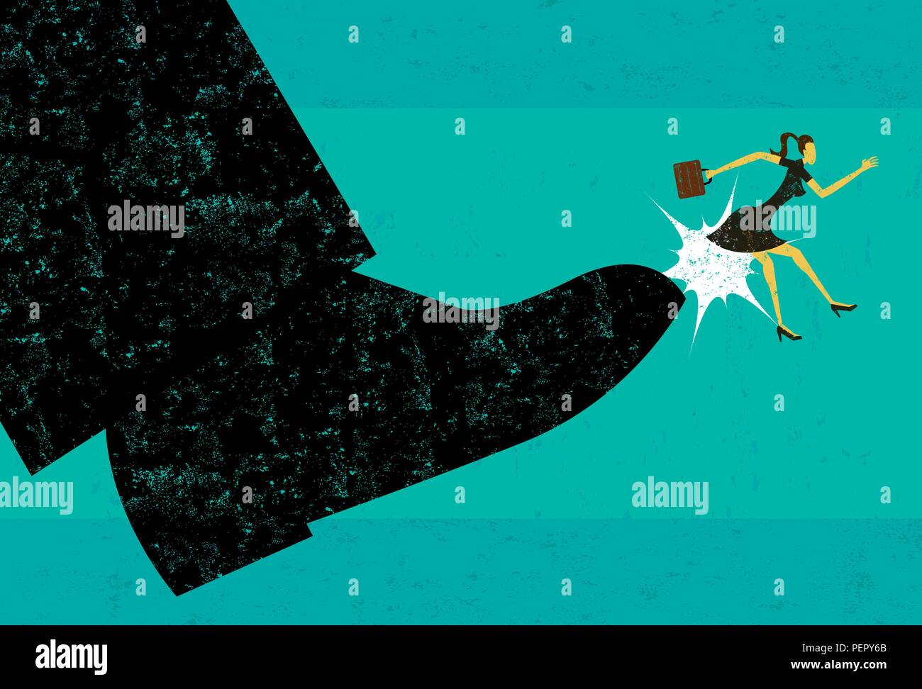 Getting Fired. A businesswoman getting booted from her job. - Stock Vector