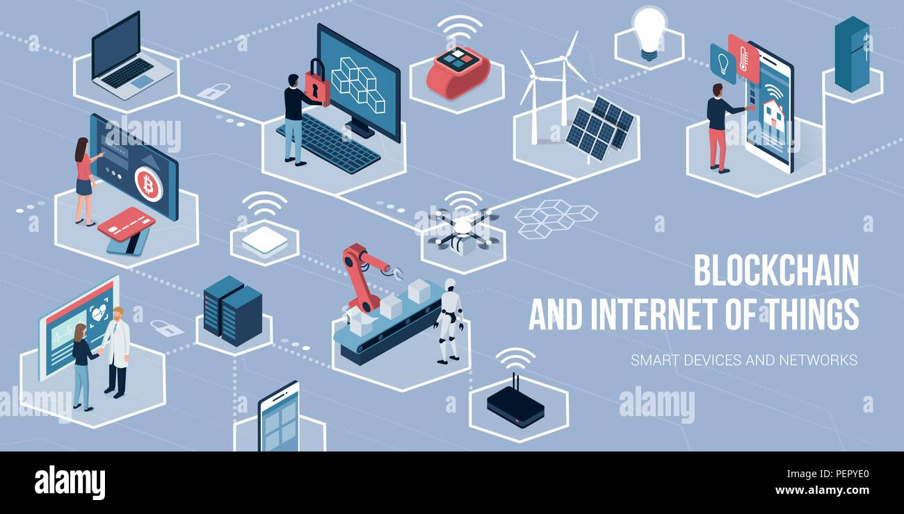 People using touch screen interfaces, augmented reality and IOT devices: blockchain of things and networks concept - Stock Vector