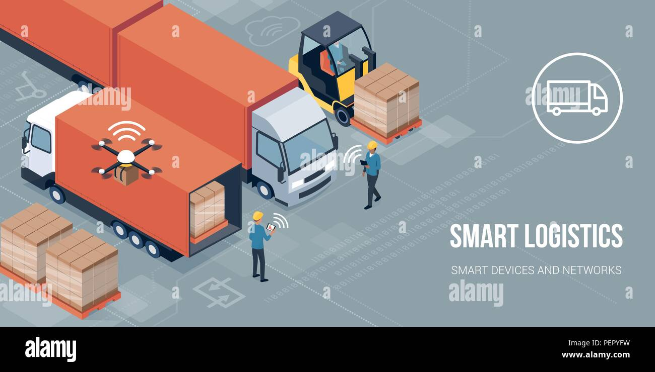 Workers loading products on the trucks and tracking delivery with a tablet: smart logistics and transportation concept - Stock Vector
