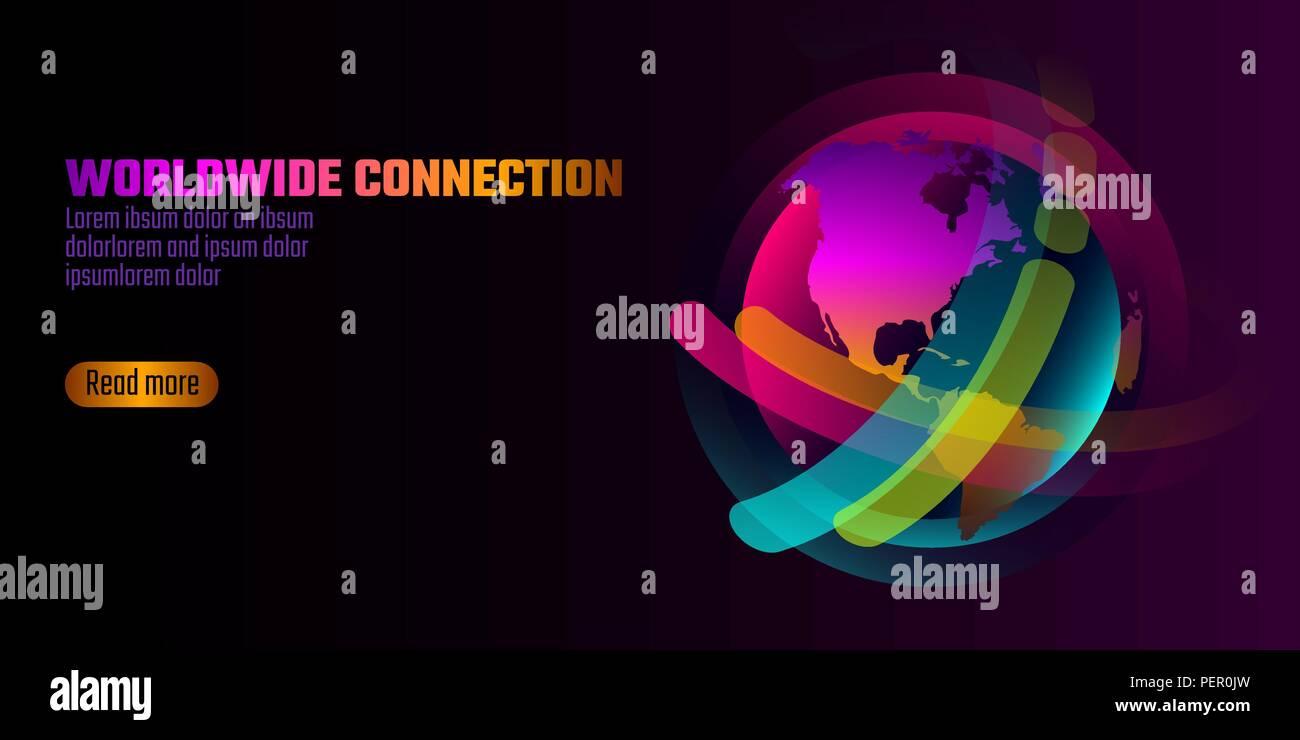 colorful vibrant globe planet shape banner virtual reality space