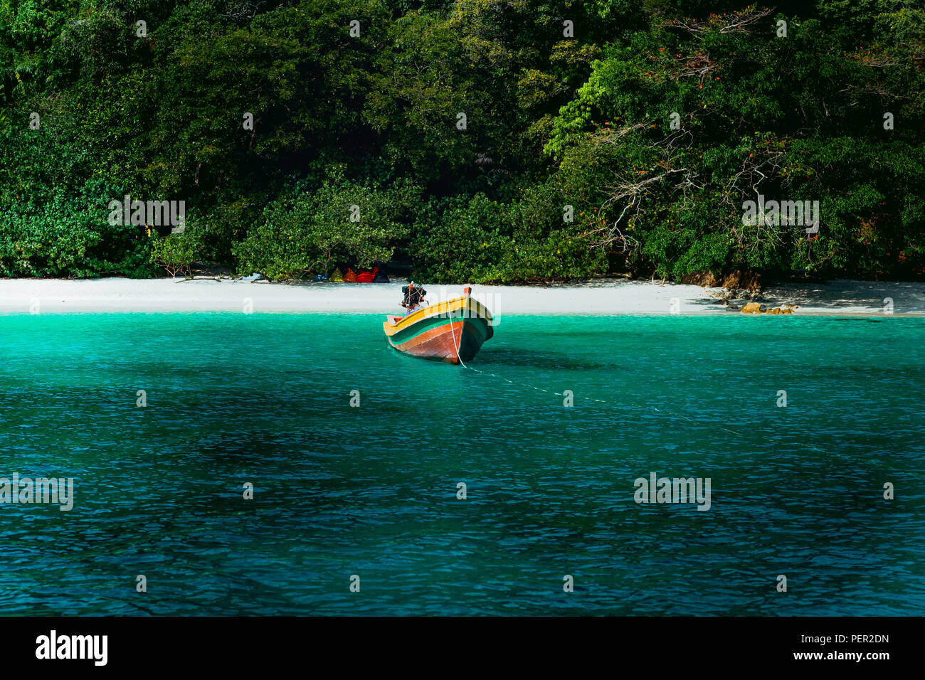 9041649478a4 Conceptual cinematic color of the beach and long tail boat in Flower Island  in Thailand.