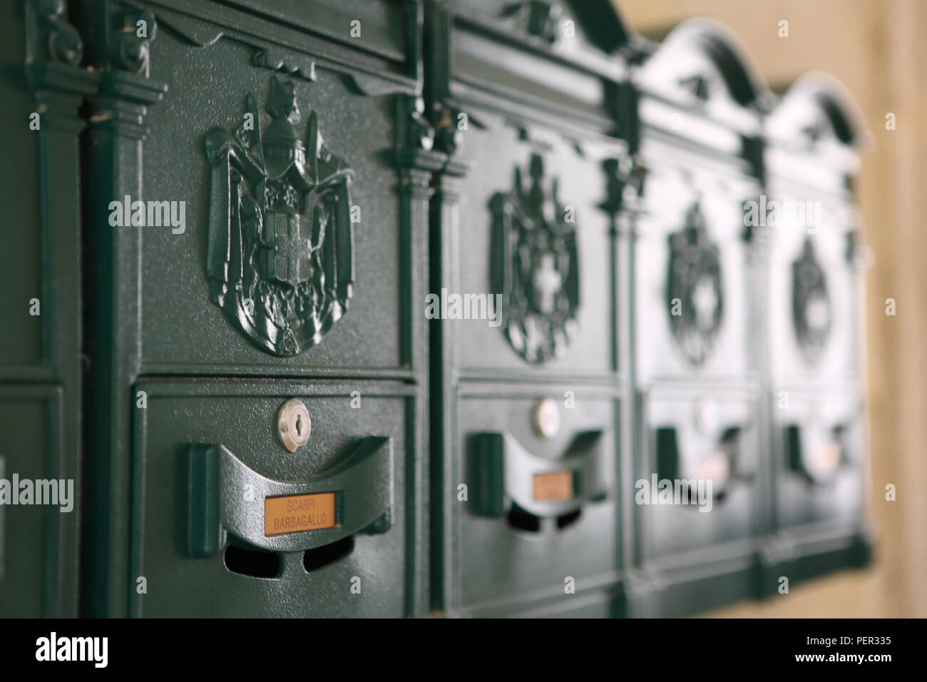 personnel postboxes in Taormina - Stock Image
