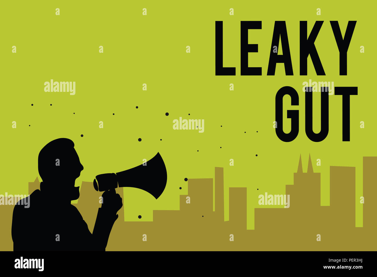 Handwriting text Leaky Gut. Concept meaning A condition in which the lining of small intestine is damaged Man holding megaphone speaking politician ma - Stock Image
