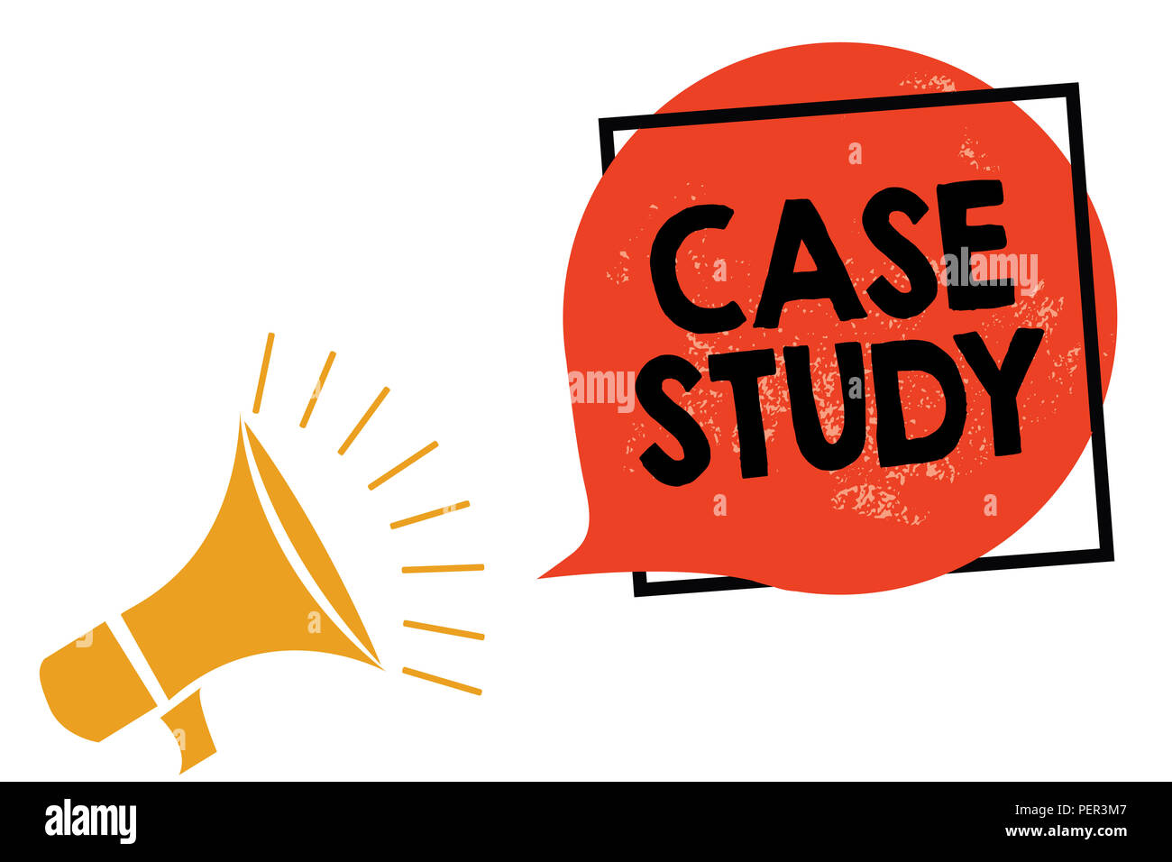 Writing note showing Case Study. Business photo showcasing A subject matter to be discussed and related to the topic Megaphone loudspeaker speaking sc - Stock Image