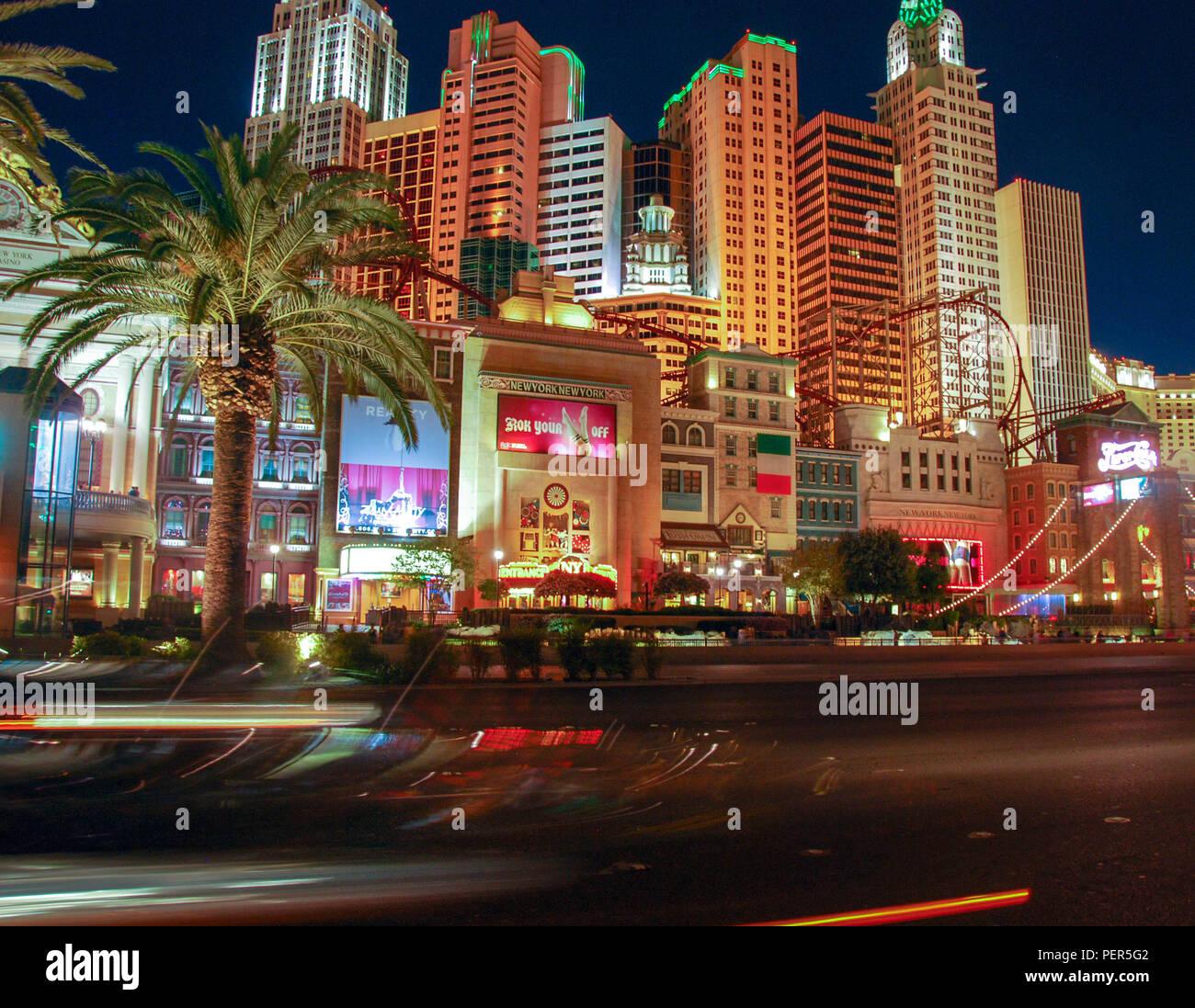 The New York New York hotel in Las Vegas at night - Stock Image
