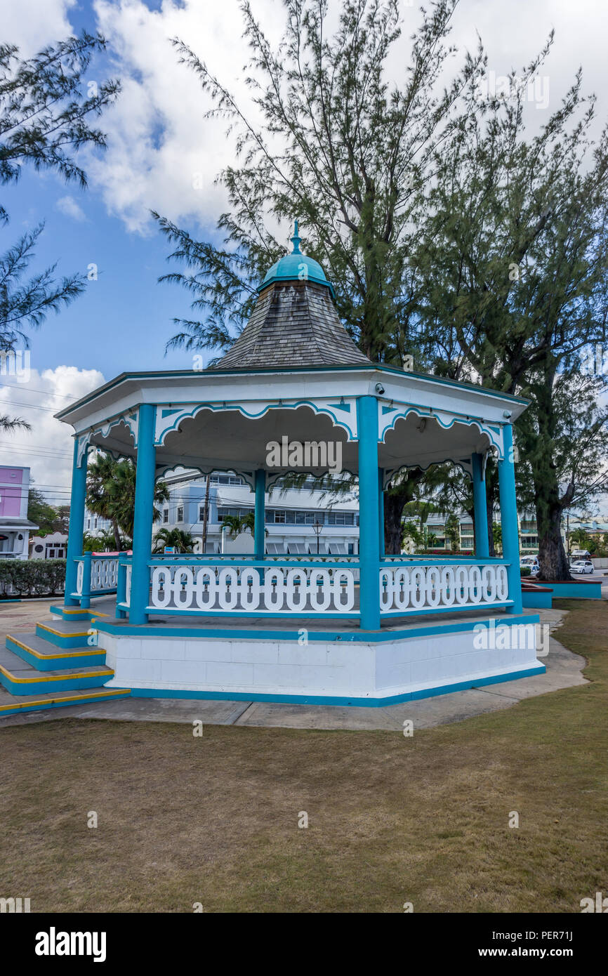 Turquoise and white bandstand on Hastings main road near rockley beach, Bridgetown, Barbados, - Stock Image