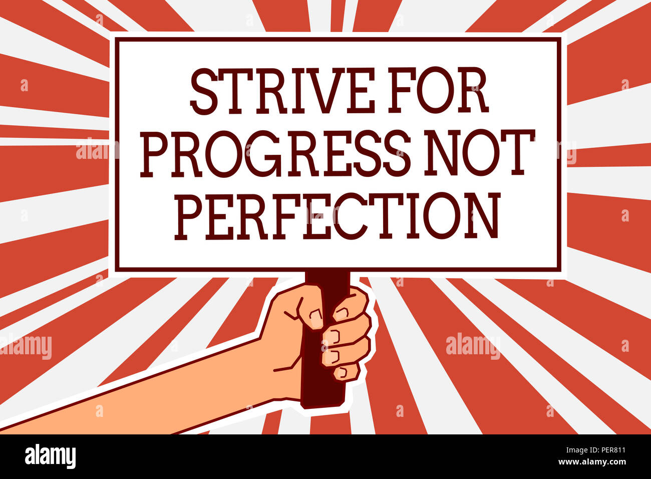 Writing note showing Strive For Progress Not Perfection. Business photo showcasing Improve with flexibility Advance Grow Man hand holding poster impor - Stock Image