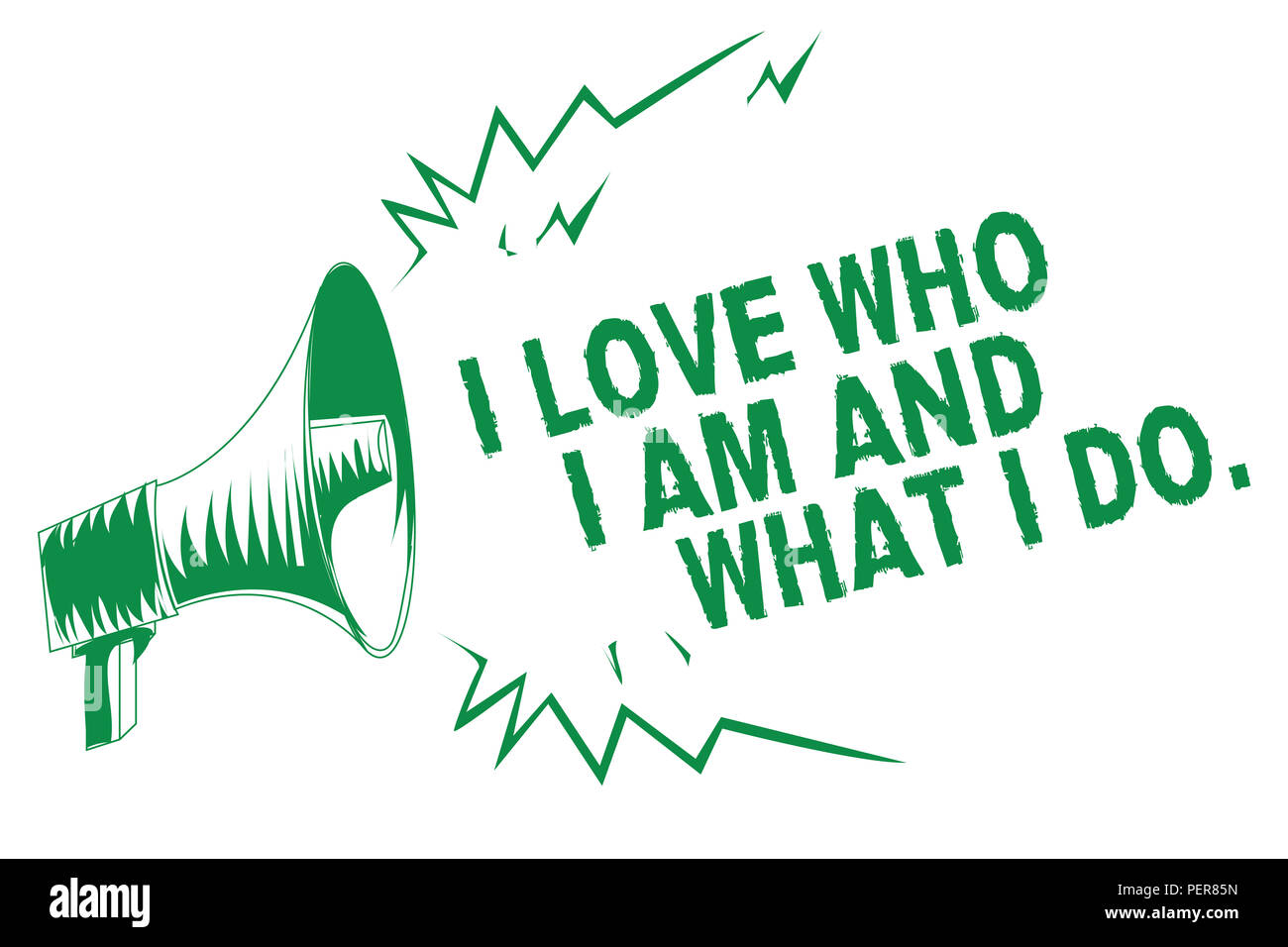 Handwriting text writing I Love Who I Am And What I Do.. Concept meaning High self-stem being comfortable with your job Green megaphone loudspeaker im - Stock Image