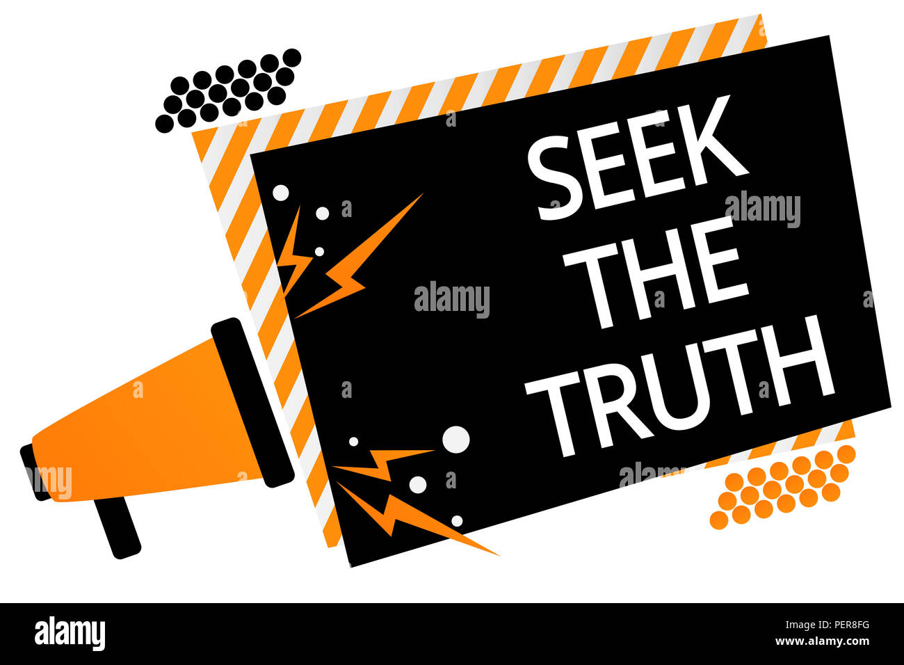Writing note showing Seek The Truth. Business photo showcasing Looking for the real facts Investigate study discover Megaphone loudspeaker orange stri - Stock Image
