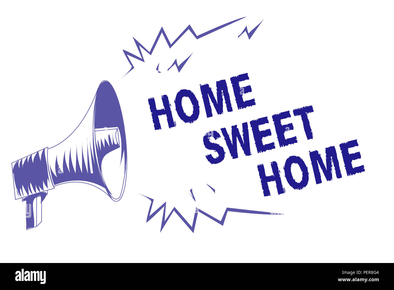 Word writing text Home Sweet Home. Business concept for In house finally Comfortable feeling Relaxed Family time Purple megaphone loudspeaker importan - Stock Image