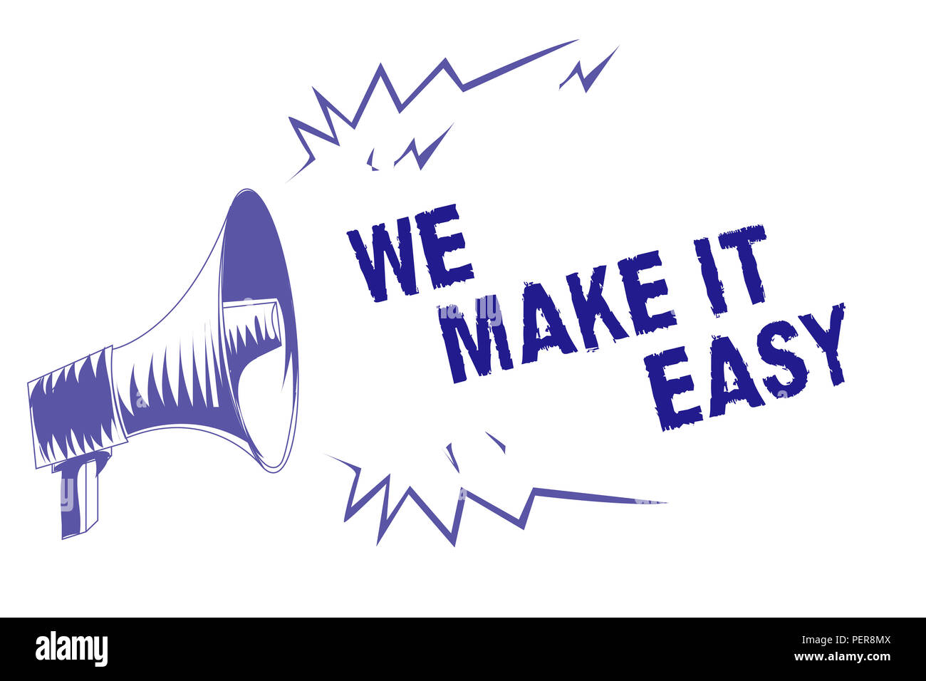 Word writing text We Make It Easy. Business concept for Offering solutions alternatives make an easier job ideas Purple megaphone loudspeaker importan - Stock Image