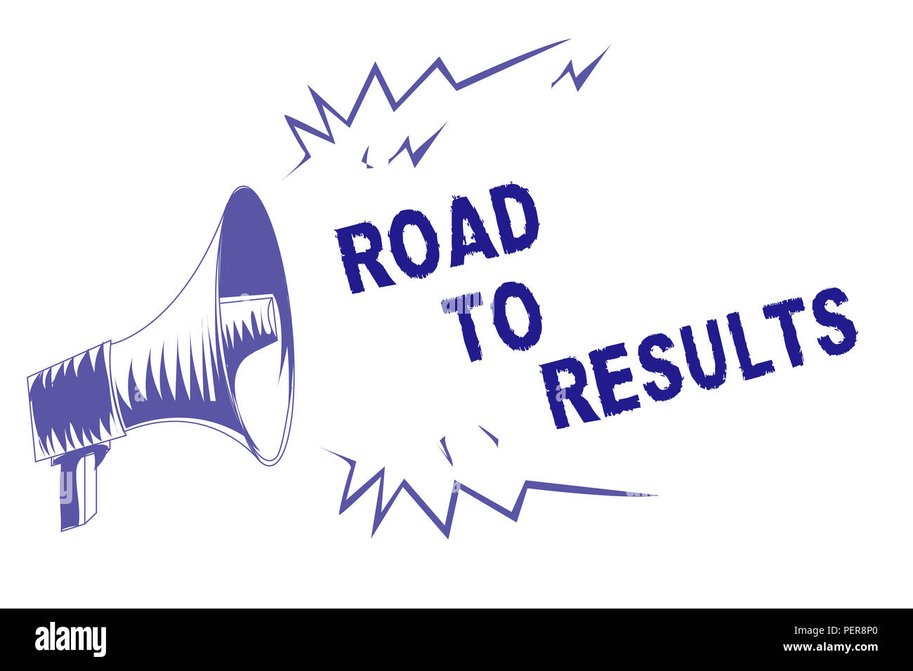 Word writing text Road To Results. Business concept for Business direction Path Result Achievements Goals Progress Purple megaphone loudspeaker import - Stock Image