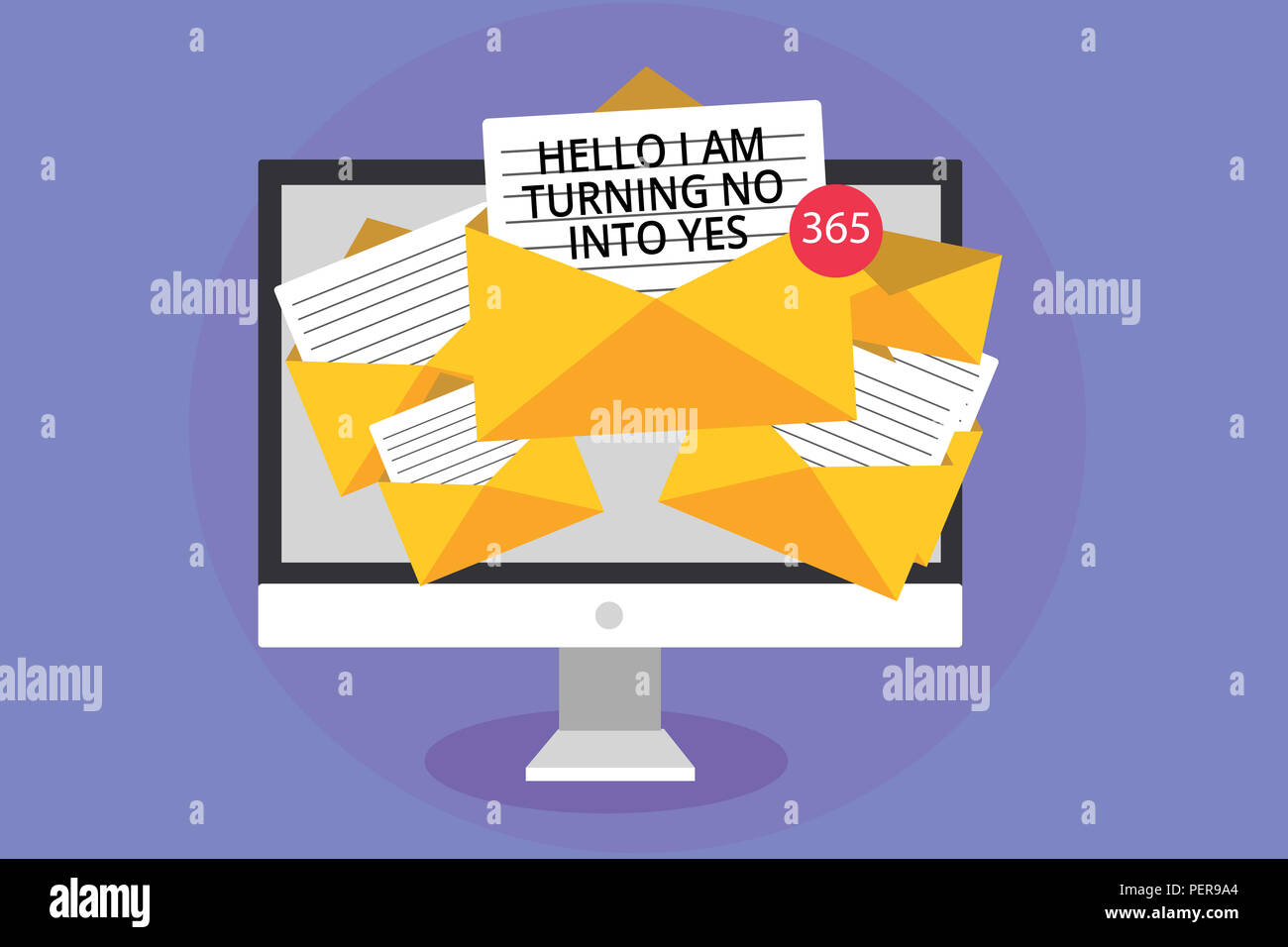 Word writing text Hello I Am Turning No Into Yes. Business concept for Persuasive Changing negative into positive Computer receiving emails important  Stock Photo