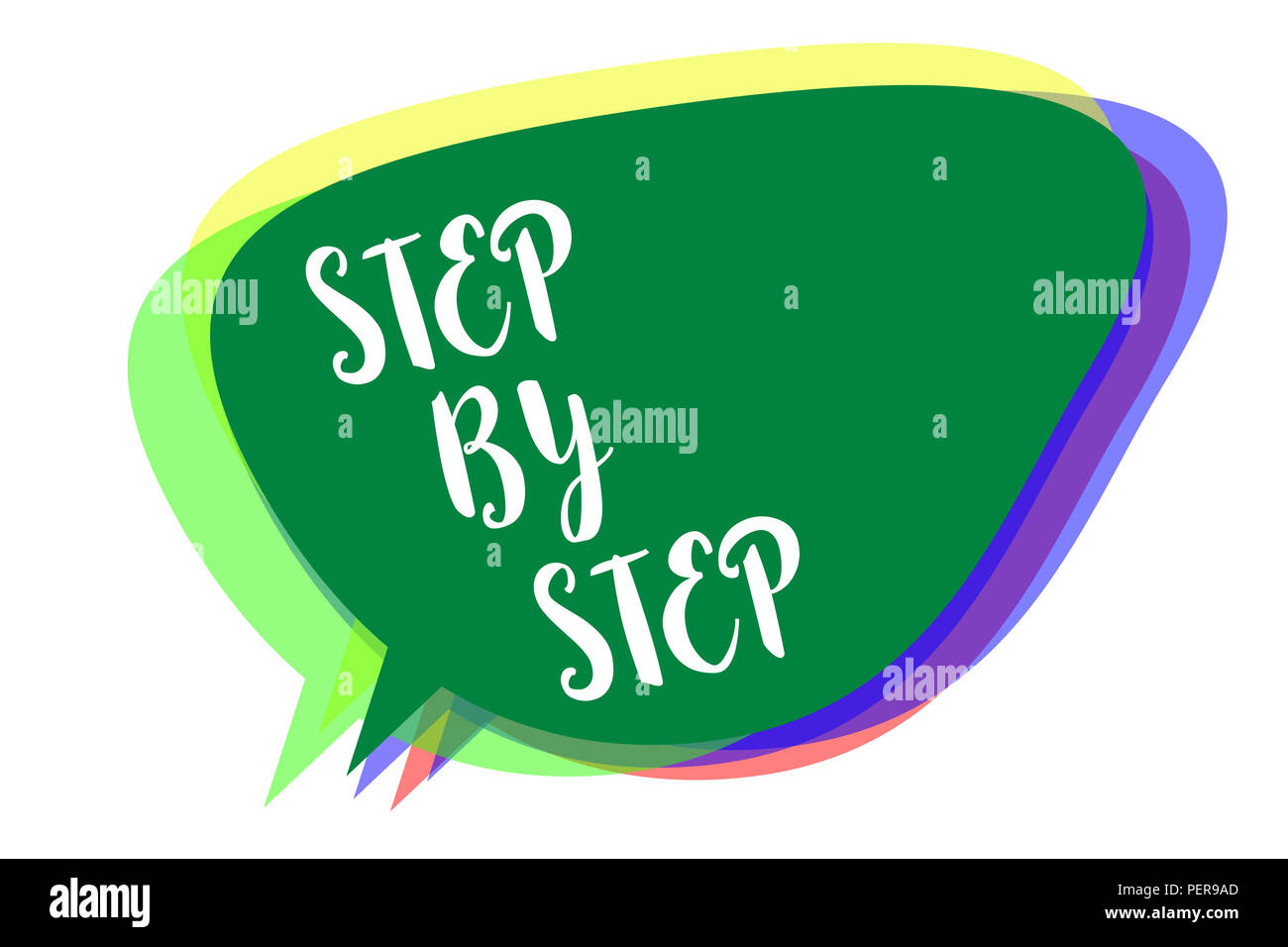 Writing note showing Step By Step. Business photo showcasing Slow progress Road to success Direction development Growth Speech bubble idea message rem Stock Photo