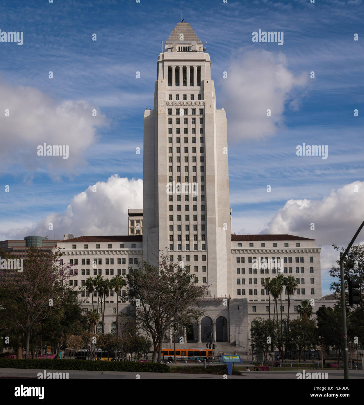 Exterior of the Los Angeles City Hall building, shot from N. Broadway. - Stock Image