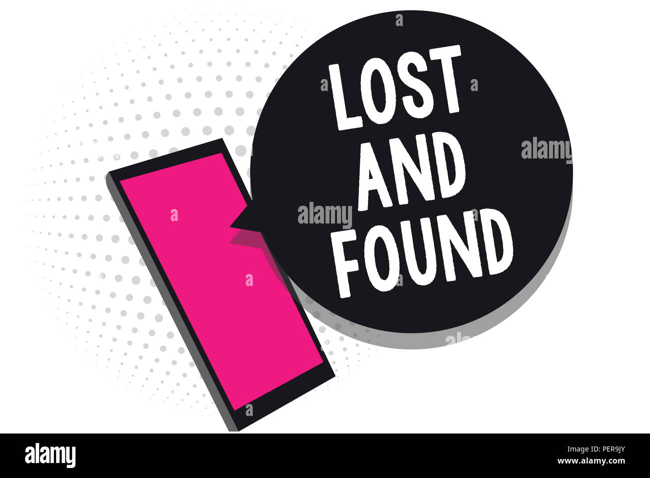 Text sign showing Lost And Found. Conceptual photo Place where you can find forgotten things Search service Cell phone receiving text messages chats i - Stock Image