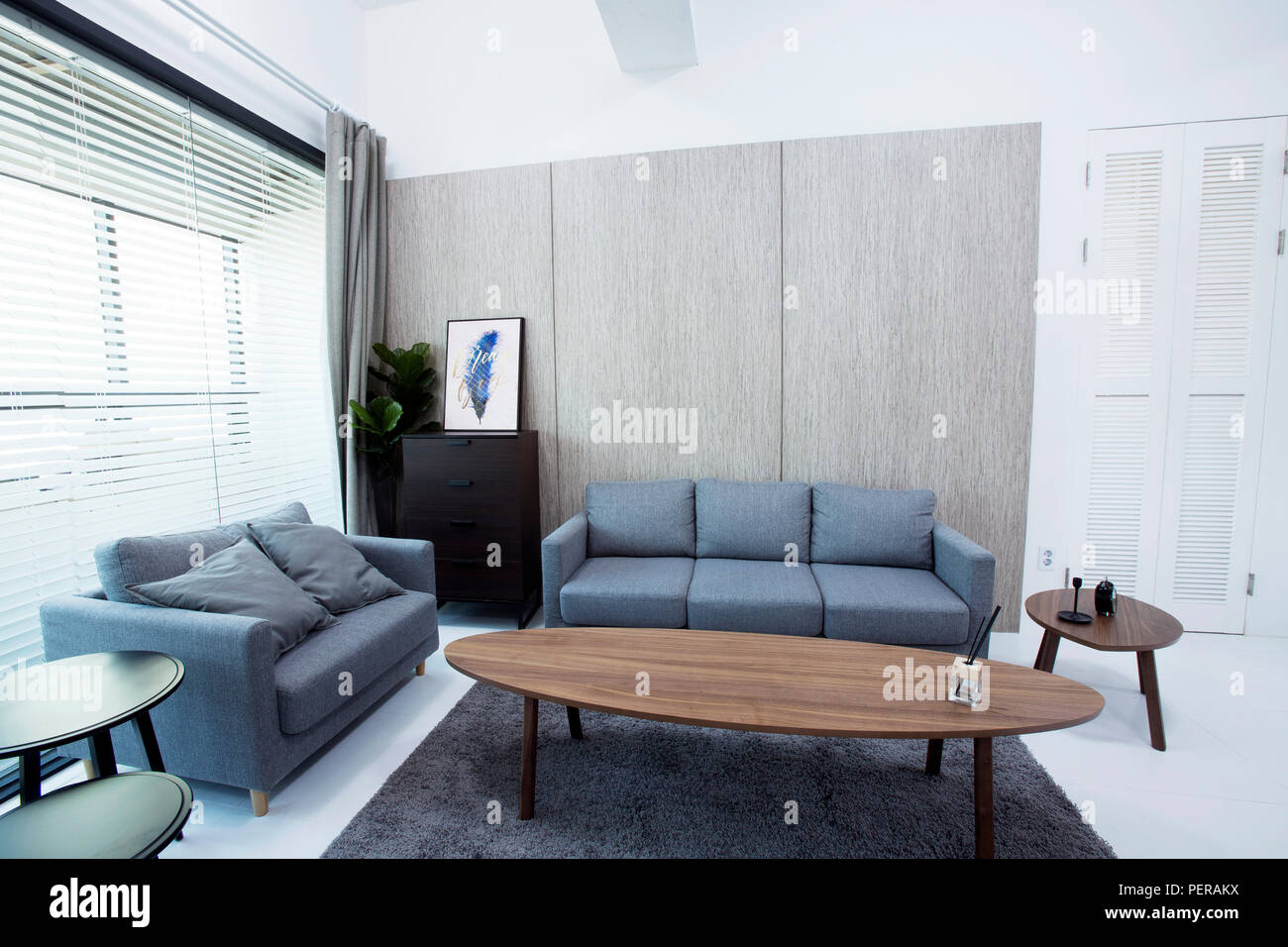 Modern Space Interiors Design Stock Photo. Living Room, Office Room,  Restaurant And Hair Salon. 036
