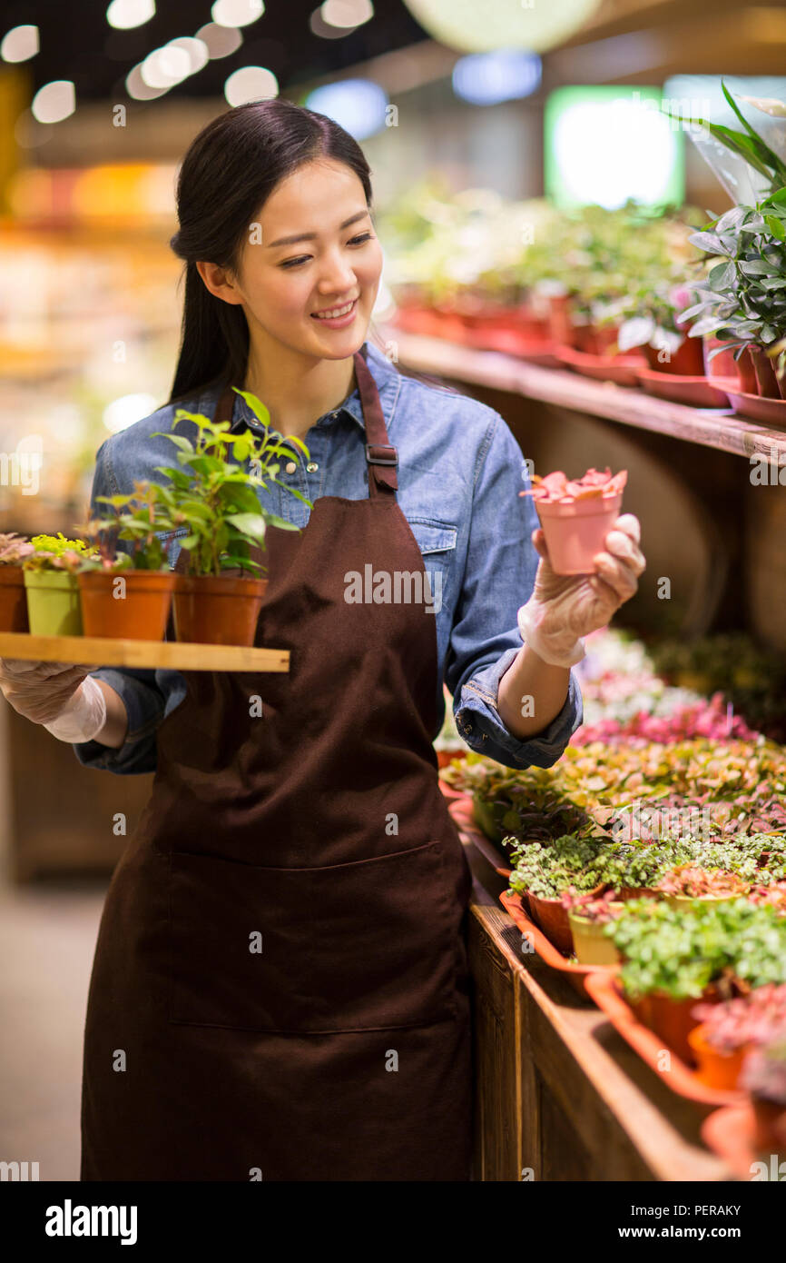 Young woman working in plant shop - Stock Image