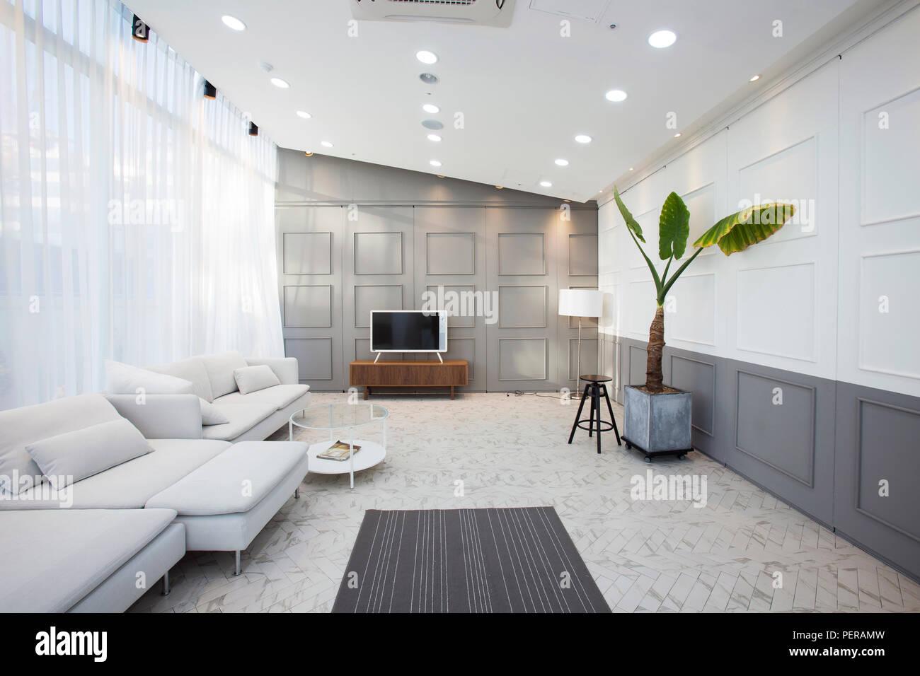 Modern space interiors design stock photo. living room, office