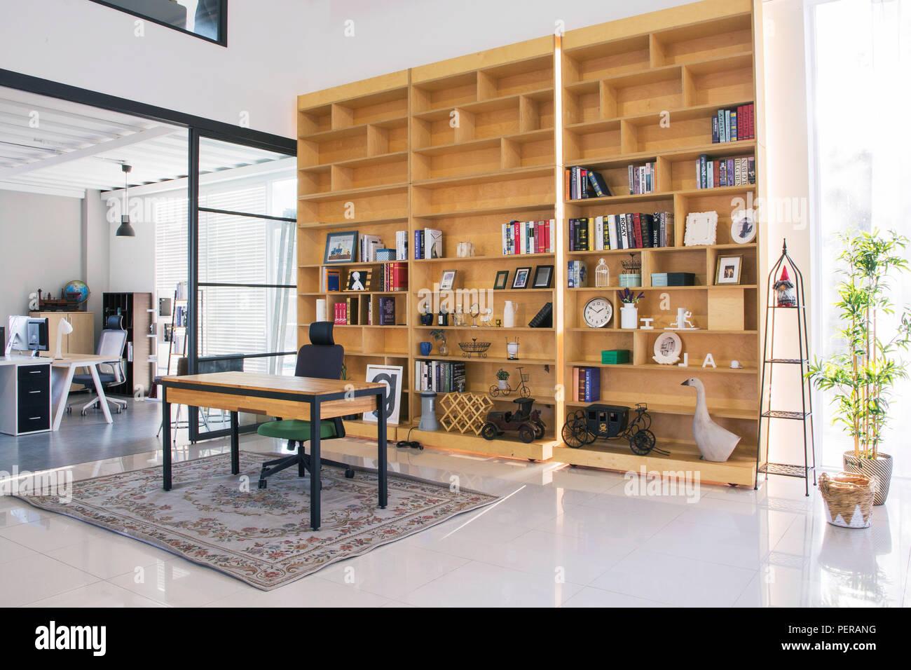 Modern Space Interiors Design Stock Photo Living Room Office Room