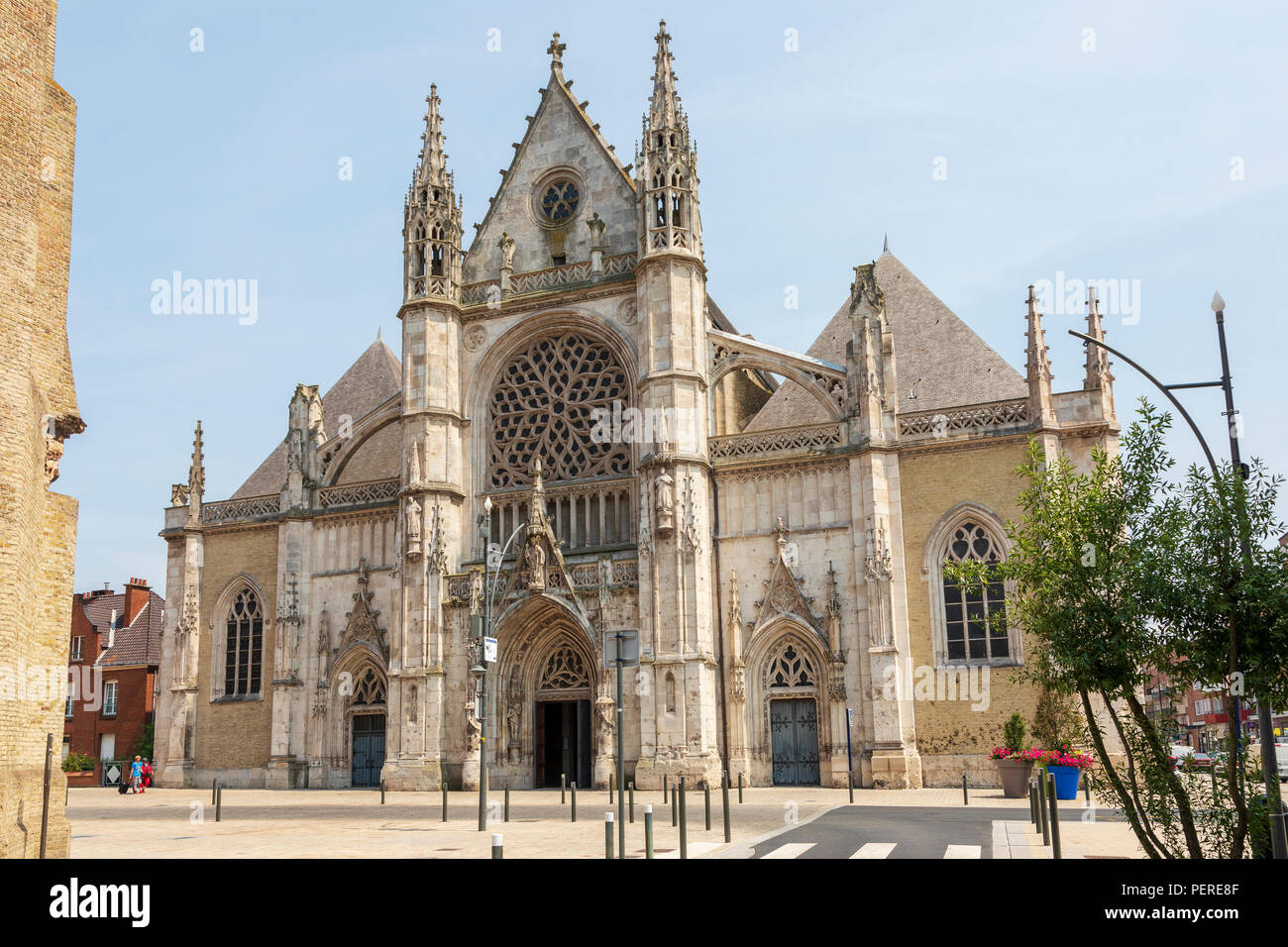 Saint Eloi Church, Dunkirk, Dunkerque, Hants-de-France, France, with bullet holes and damage from world war 2 - Stock Image