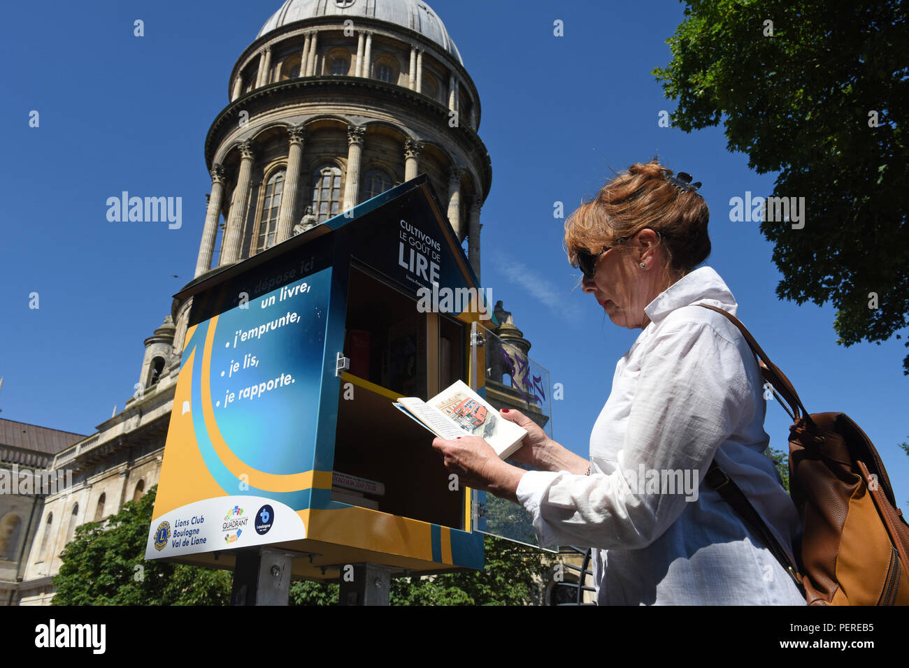 Boulogne-sur-Mer in northern France 2018 Lions Club free community book exchange library - Stock Image