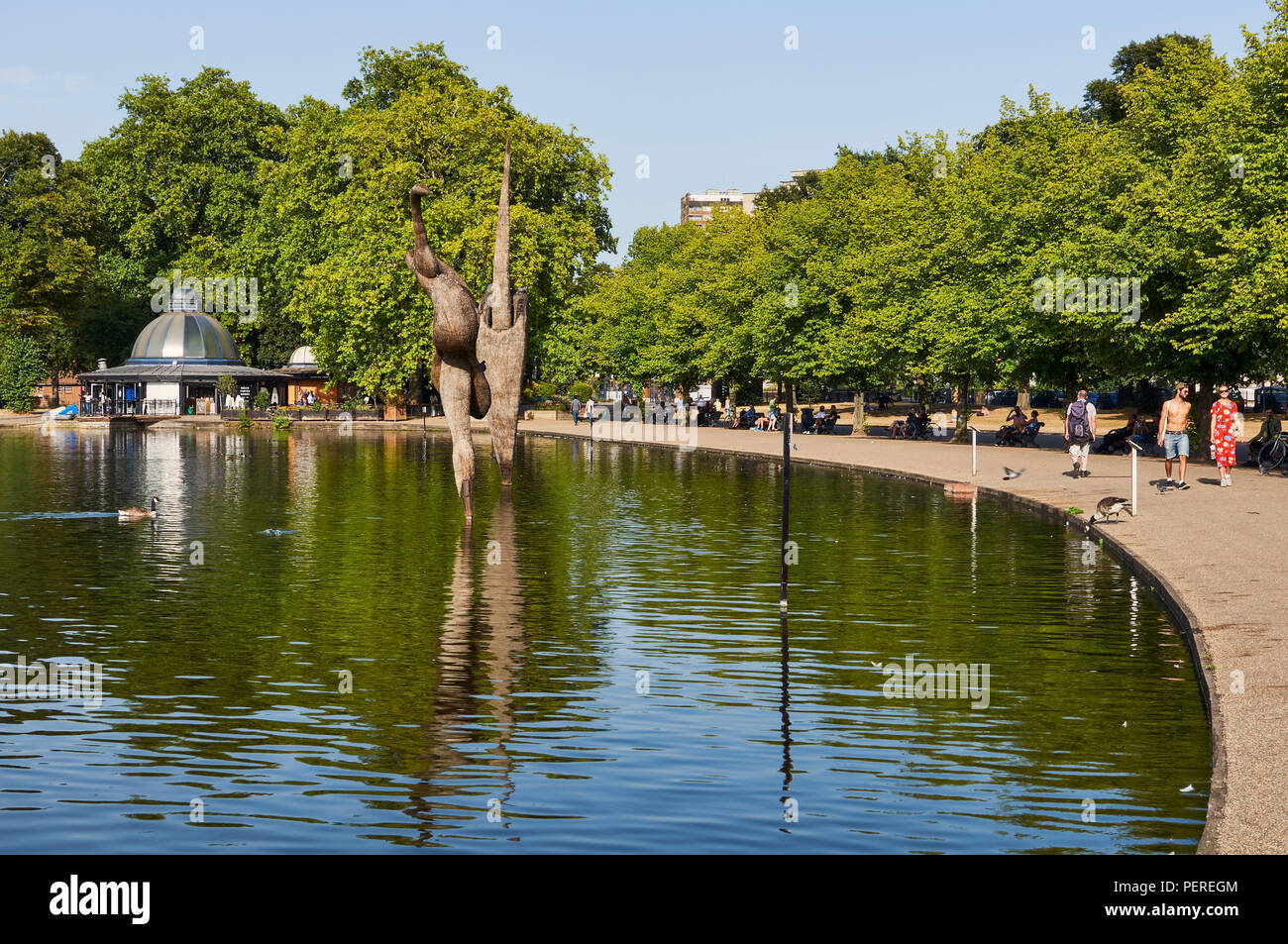 West Boating Lake in Victoria Park, East London, UK, in August, during the 2018 heatwave - Stock Image