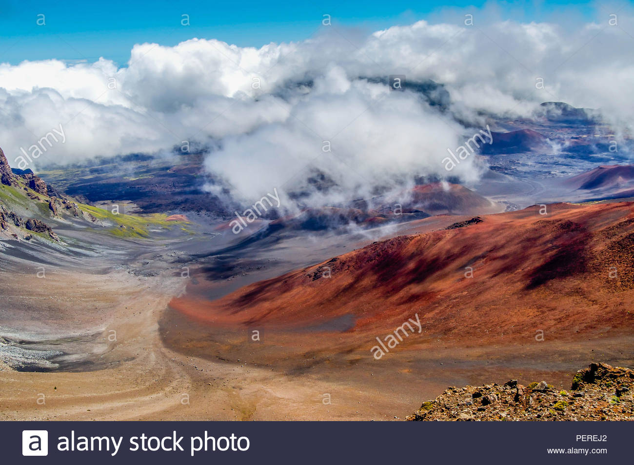 The Canvas of Colors Located in the Crater of Haleakala Volcano on the Island of Maui in Hawaii - Stock Image