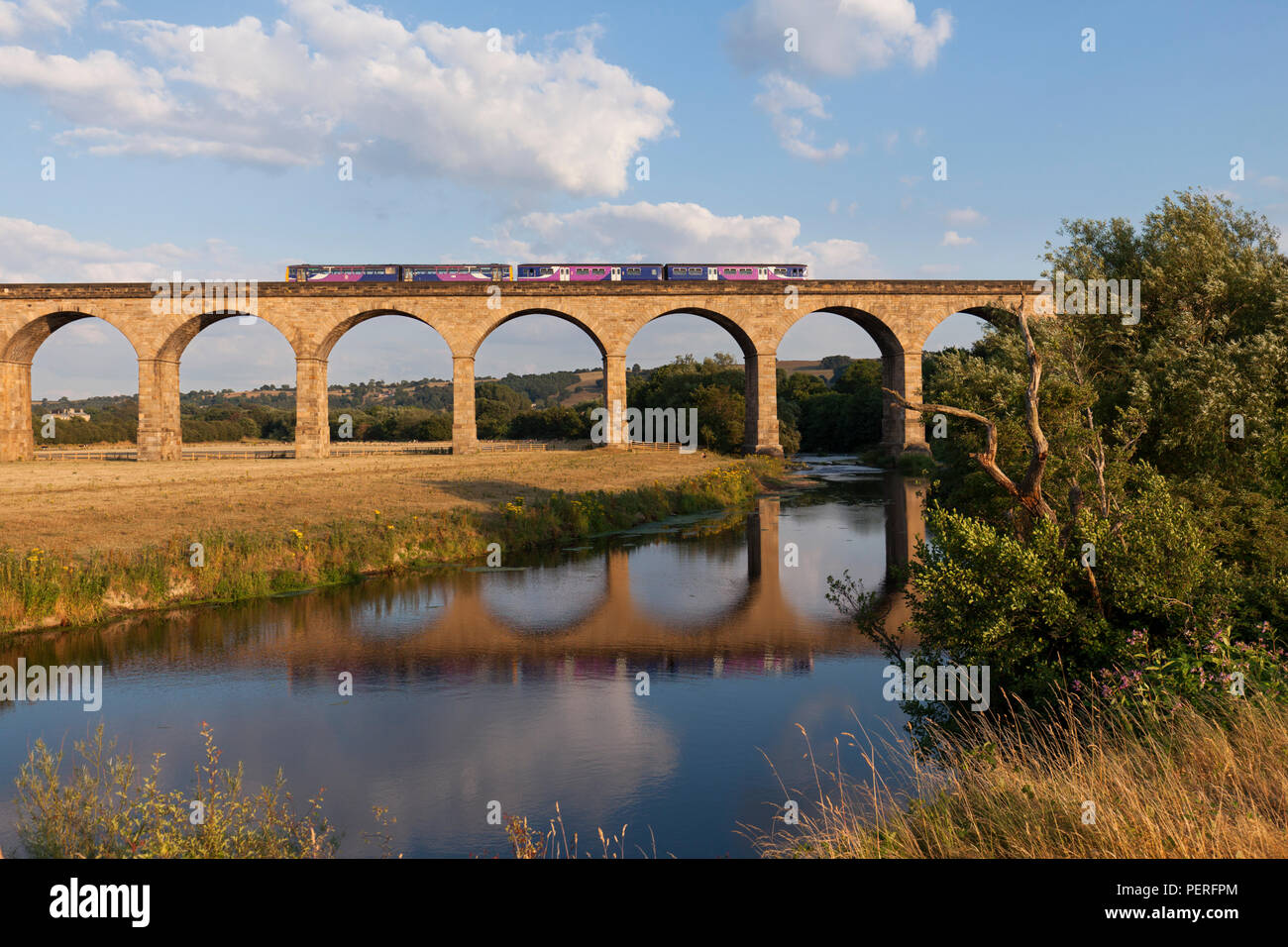 A Northern rail Leeds to Knareborough train crossing Wharfedale viaduct (River Wharf)  formed of a class 150 sprinter + 144 pacer - Stock Image