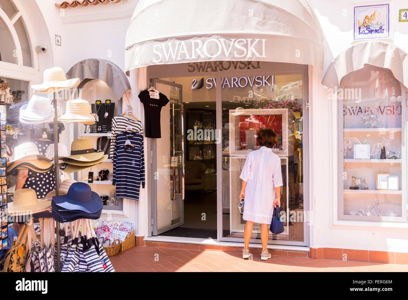 053955db61c Swarovski Jewellery Shop , Capri Italy Europe, shopping concept - Stock  Image