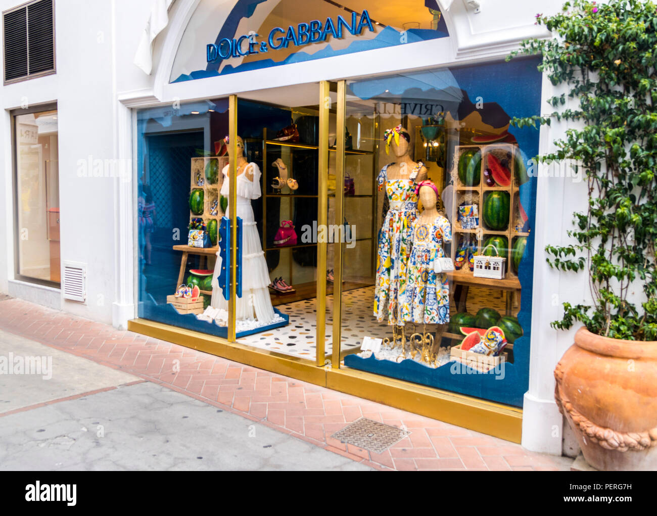 Dolce & Gabbana Store Shop Capri Italy Europe expensive lifestyle rich concept wealthy living, abundance gold blue store front - Stock Image