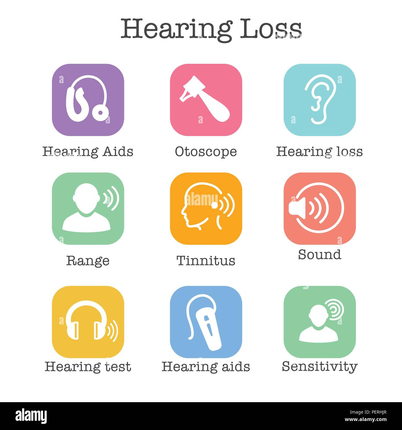 Hearing Aid or loss with Sound Wave Images Icon Set - Stock Image