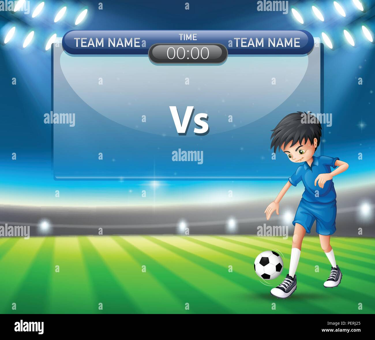 a football player scoreboard template illustration stock vector art