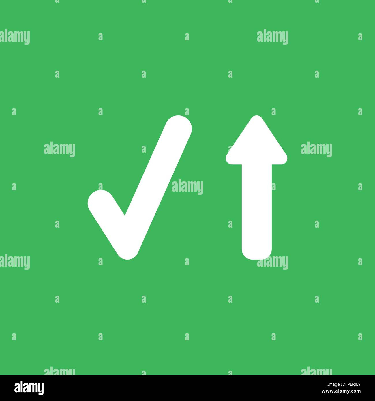 Flat Vector Icon Concept Of Check Mark With Arrow Moving Up On Green