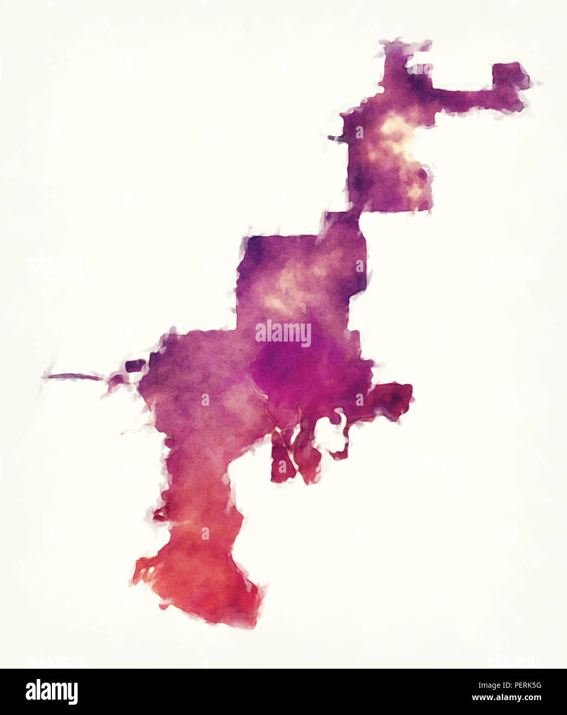 Map Of Watercolor Florida.Tampa Florida City Watercolor Map In Front Of A White Background